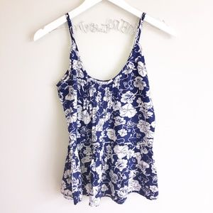 🔴 Tank Top Floral Print Blue and White Shirt